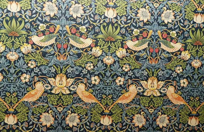 William Morris: Strawberry thief wallpaper.
